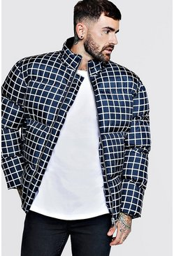 Mens Navy Funnel Neck Check Puffer