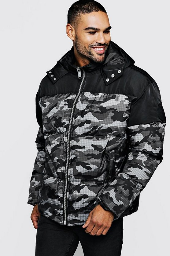 Mens Black Camo Contrast Hooded Puffer