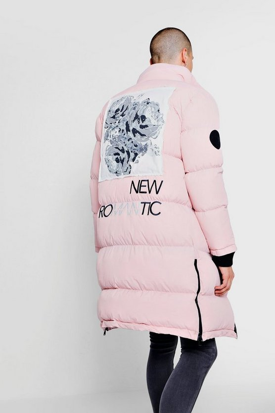 Light pink Back Print And Embroidery Duvet Puffer
