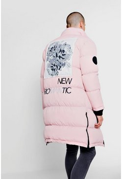Mens Light pink Back Print And Embroidery Duvet Puffer