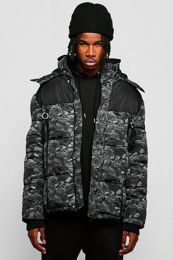 Contrast Printed Puffer With Hood