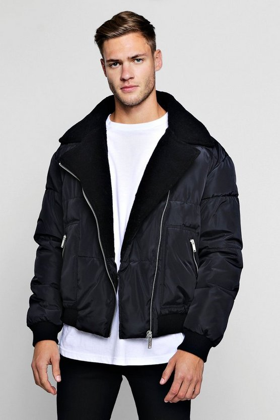 Borg Collar Quilted Biker