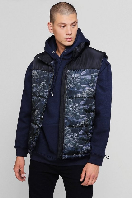 Mens Black Printed Sleeveless Puffer Jacket