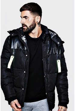 Mens Black Neon Trim Check Lined Puffer