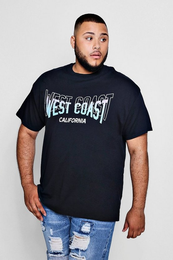 Big And Tall West Coast Print T-Shirt