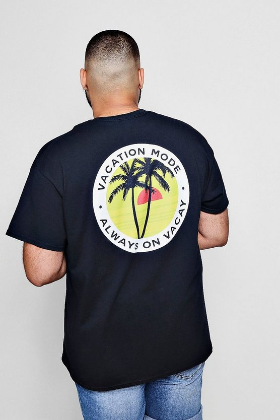 Big And Tall Vacation Mode Back Print T-Shirt