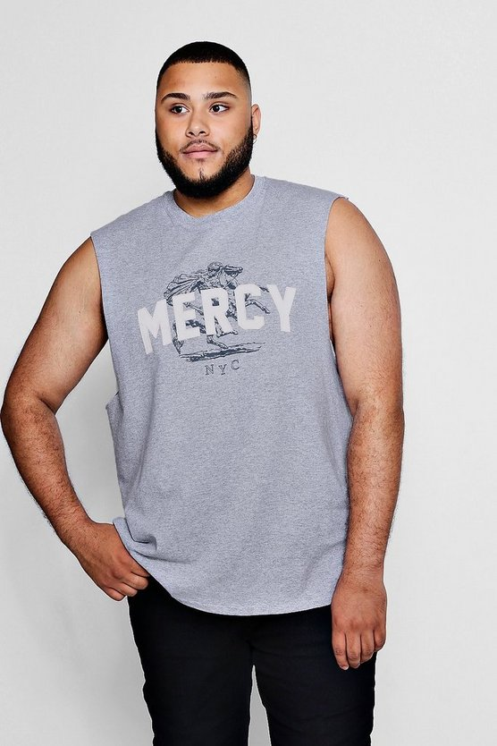 Mens Grey Big And Tall Mercy Raised Print Tank