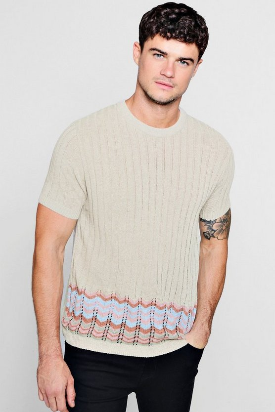 Chevron Jacquard Knitted T-Shirt
