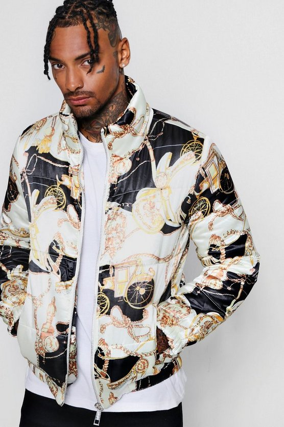 Funnel Neck Printed Puffer
