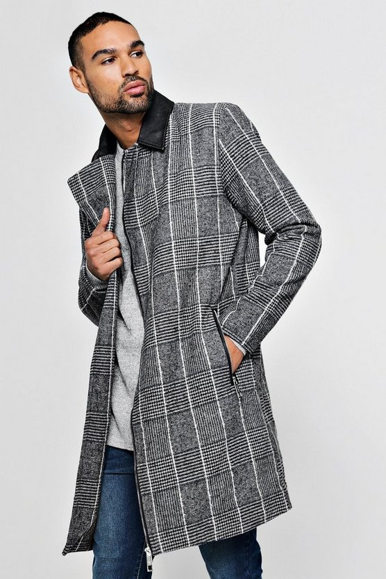 PU Detail Wool Look Coat
