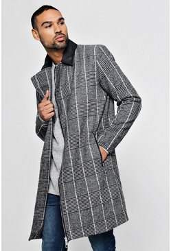 Mens Charcoal PU Detail Wool Look Coat