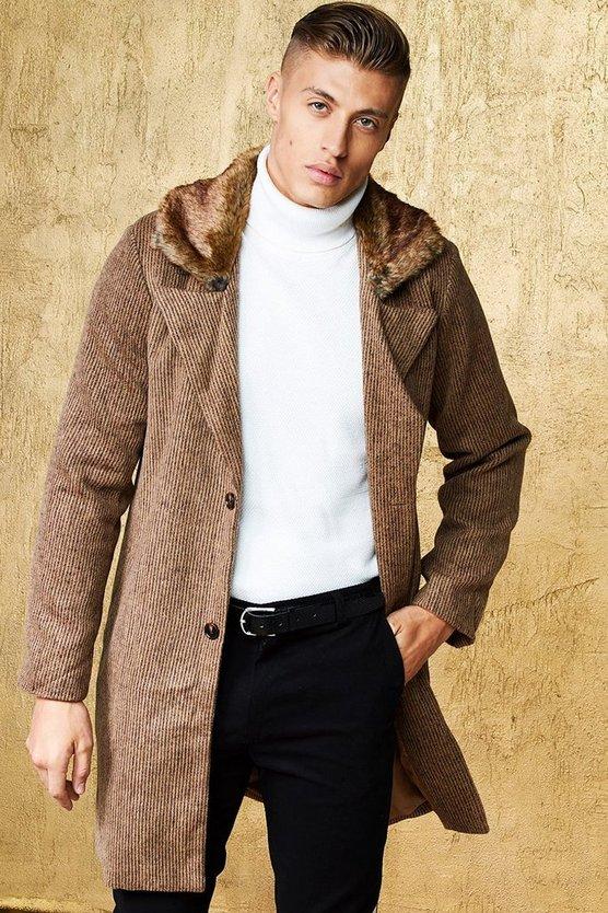 Faux Fur Collar Wool Look Coat by Boohoo Man