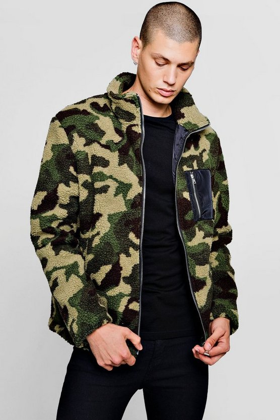 Camo Borg Zip Through Jacket