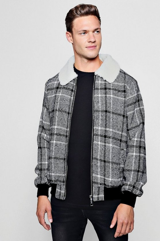 Black Wool Blend Faux Fur Collar Check Bomber
