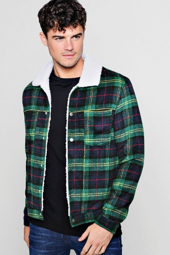 Mens Green Check Wool Look Jacket With Borg Collar