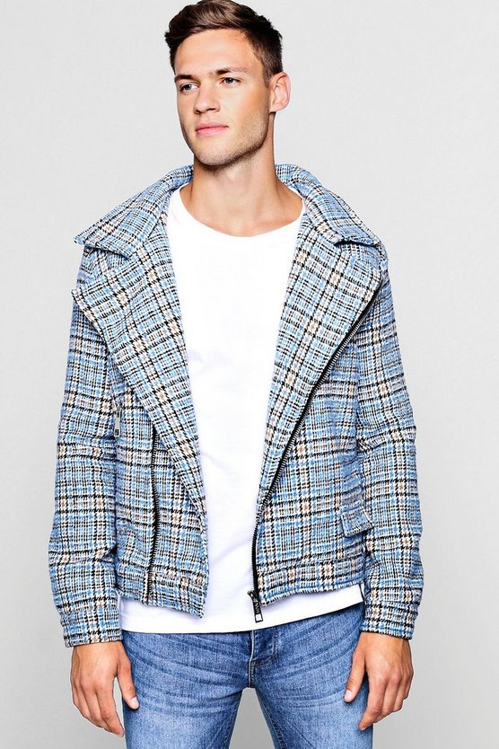 Mens Blue Wool Blend Check Biker Jacket