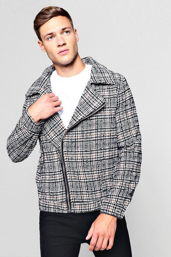 Wool Blend Check Biker Jacket