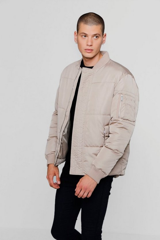 Puffer Jacket With Bomber Neck