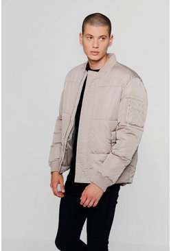 Mens Stone Puffer Jacket With Bomber Neck