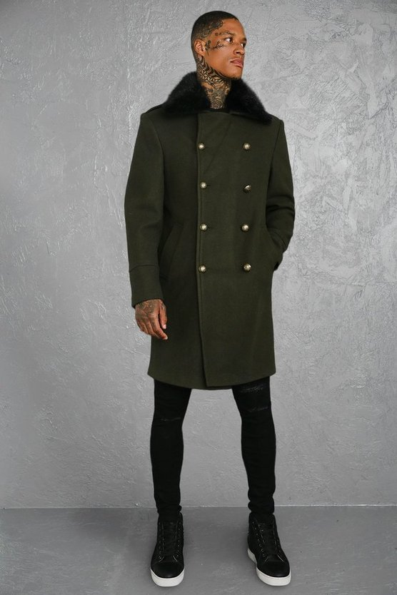 Faux Fur Collar Military Style Overcoat