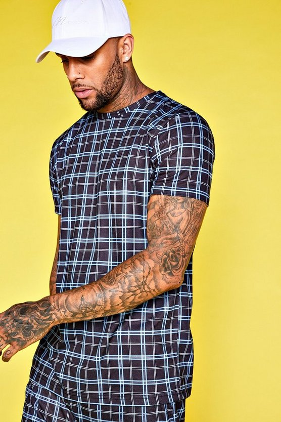 Jersey Printed Checked Longline Tee