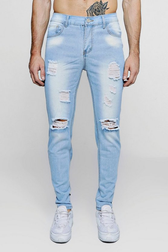 Slim Fit Distressed Jeans With Paint Splatter