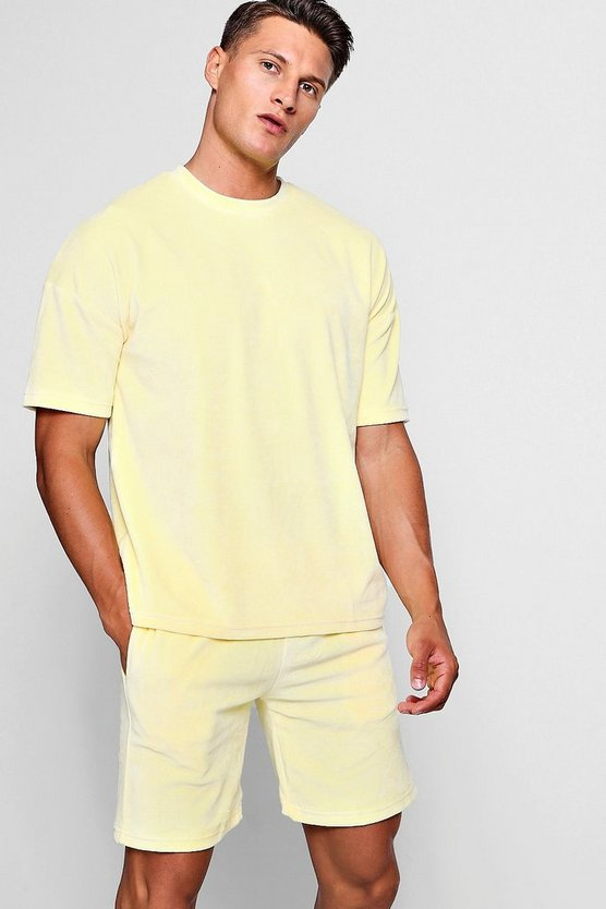 Mens Lemon Drop Armhole Velour Tee & Short Set