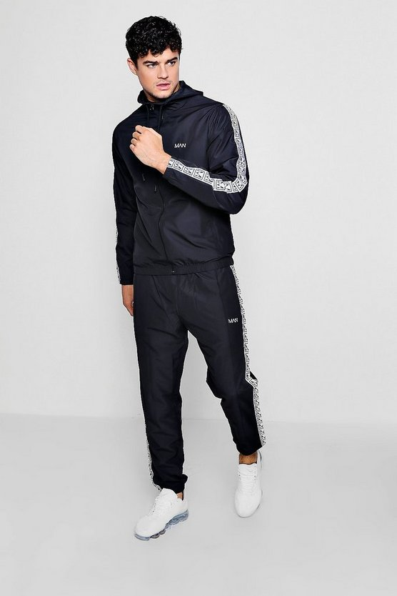 Mens Black Shell Tracksuit With MAN Box Tape