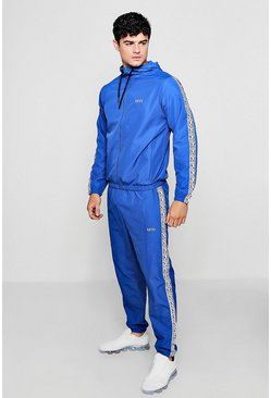Mens Blue Shell Tracksuit With MAN Box Tape