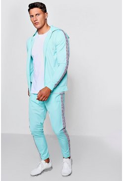 Mens Aqua MAN Zip Through Tracksuit With Side Tape