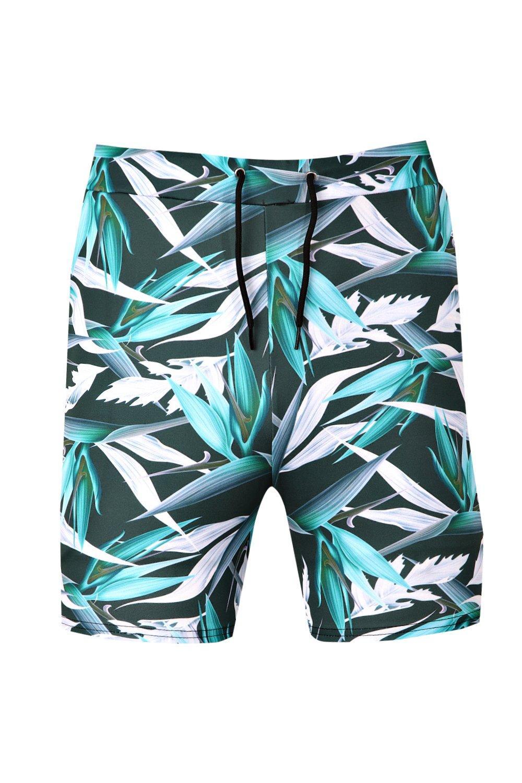 palmeras pantalones de cortos azul Conjunto estampado con con UqPcZB