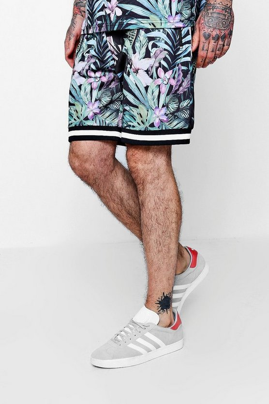 Black Floral All Over Print Mid Length Short