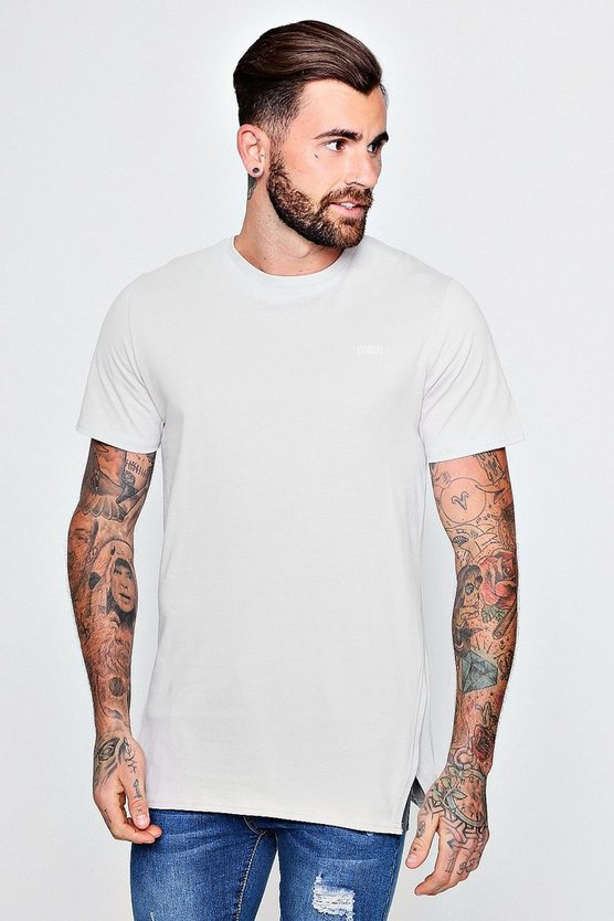 Longline Slogan T-Shirt With Trapeze Hem
