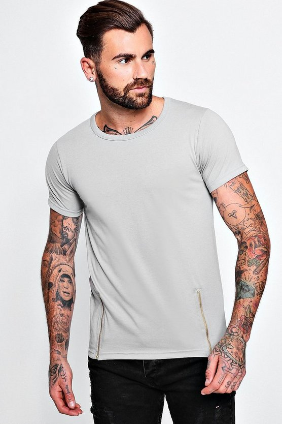 Mens Grey Crew Neck T-Shirt With Double Zips