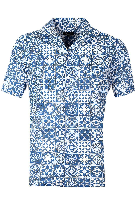 de cuello de azul solapa con con manga de Conjunto camisa corta de estampado azulejos waSZ0Y1P