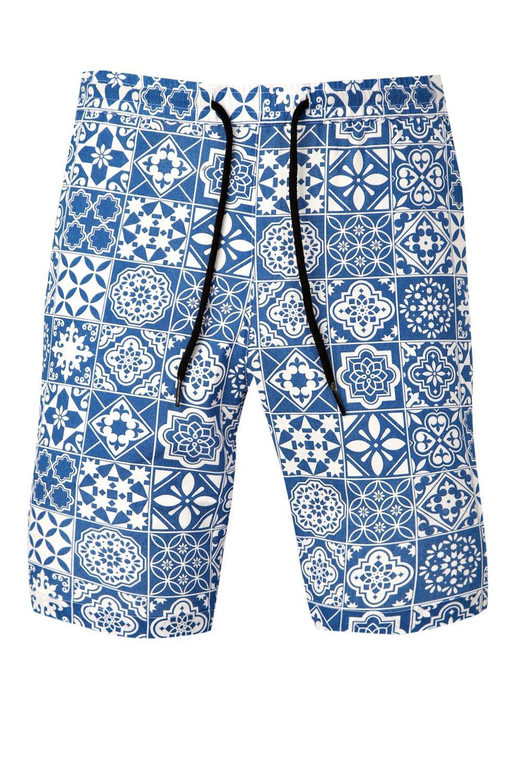 y cortos cordón ajustable de azulejos Conjunto con azul de pantalones estampado nqZCwwpY
