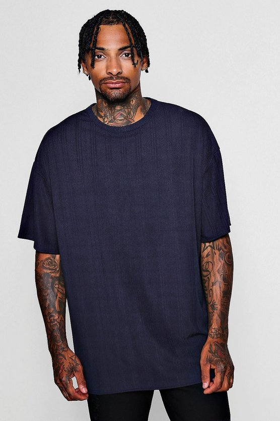 Mens Navy Oversized Ribbed T-Shirt