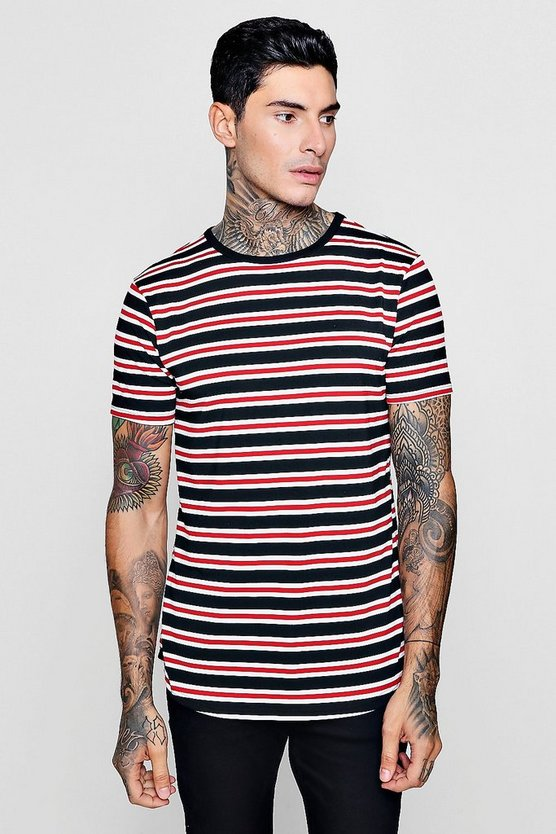 Longline Stripe T-Shirt With Curve Hem
