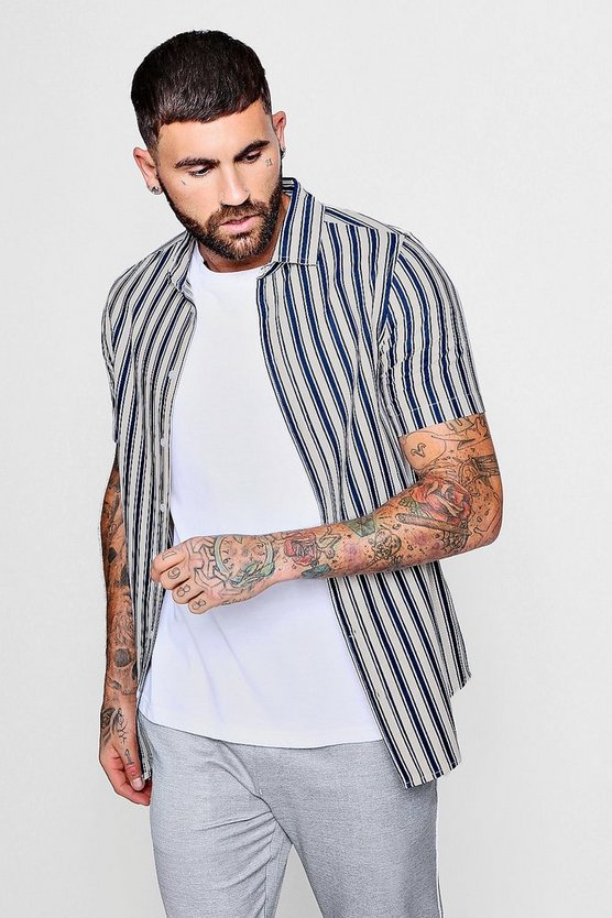 Mens Ecru Retro Stripe Print Short Sleeve Shirt