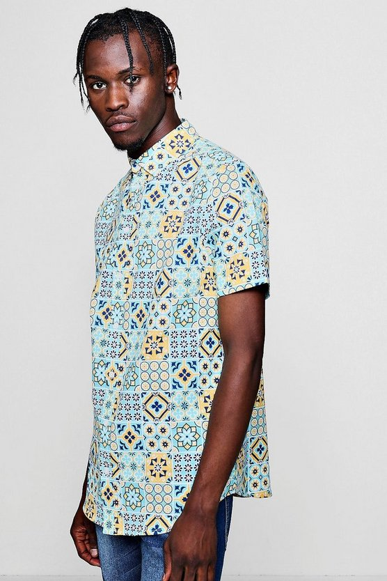 Mens Yellow Tile Print Short Sleeve Shirt