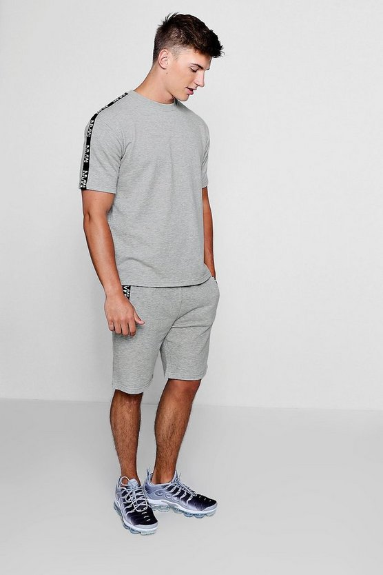 Short Sleeve Sweat & Short Set With MAN Tape