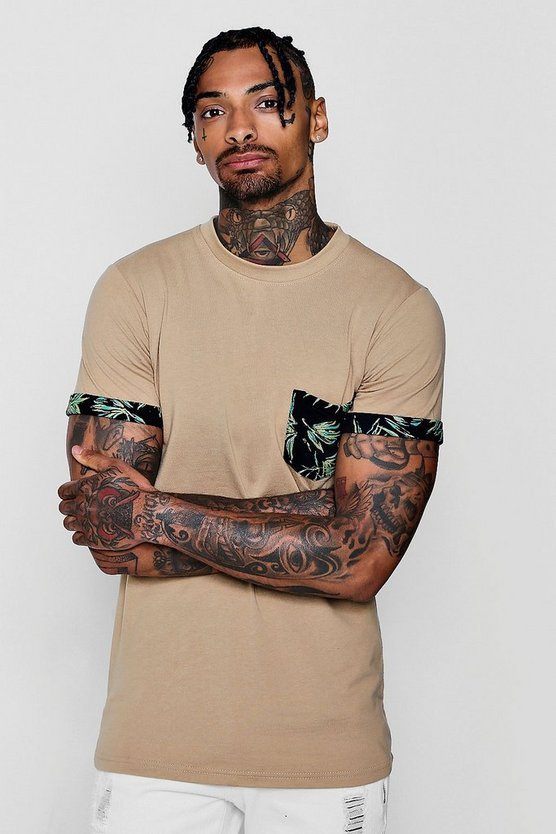 Palm Print Pocket T-Shirt
