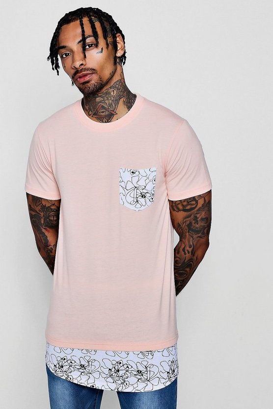 Longline Geo Pocket T-Shirt