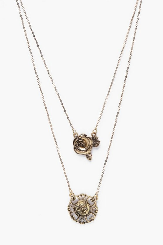 Rose and Coin Necklace