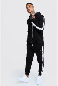 Herr Black Original MAN Embroidered Tracksuit With Tape