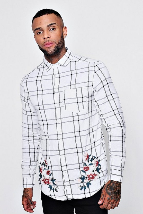 Floral Embroidered Check Long Sleeve Shirt
