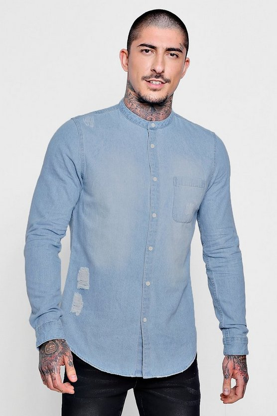 Mens Light blue Distressed Denim Shirt With Grandad Collar