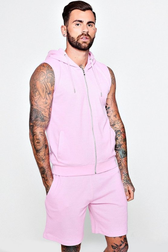 Sleeveless Hooded Pique Short Tracksuit