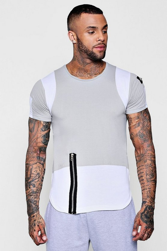 Colour Block Zip T-Shirt With Curve Hem