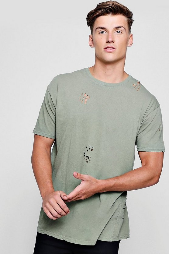 Longline Distressed T-Shirt